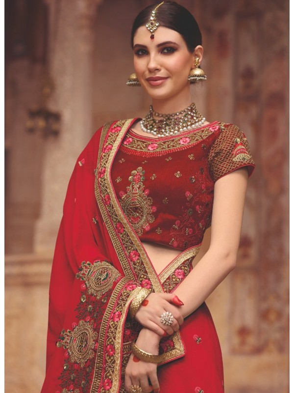 1001359 Heavy Embroidered Blood Red Blouse With Red Silk Saree