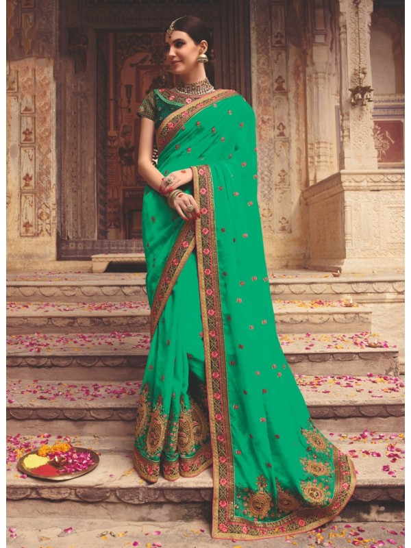 1001360 Heavy Embroidered Green Blouse With Green Silk Saree