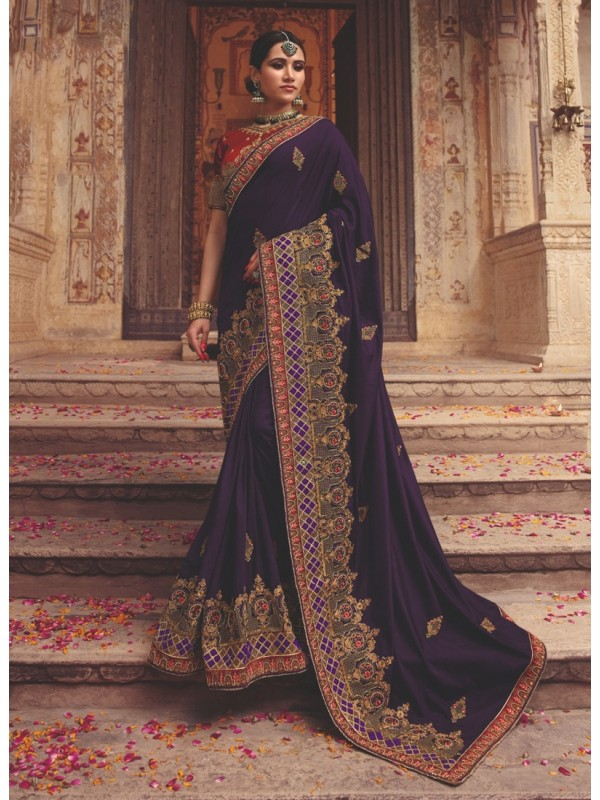 10001362 Heavy Embroidered Red Blouse With luxurios Violet Geometric Embroidered Design Border Silk Saree
