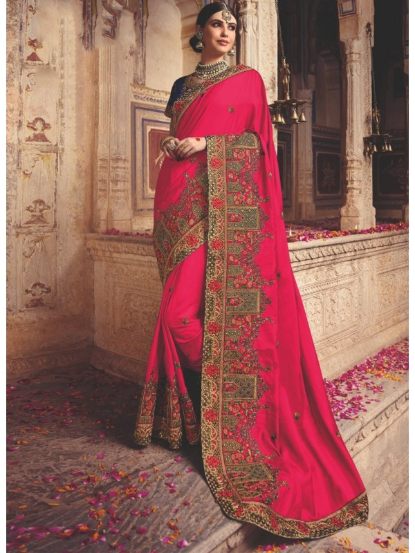 1001363 Heavy Embroidered Red Blouse With Sexy Pink Intricate Embroidered Border Silk Saree