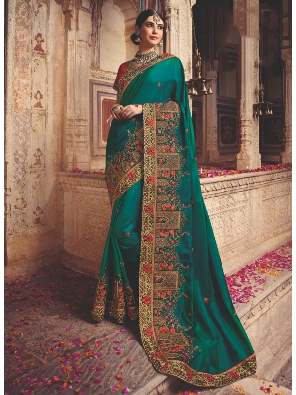 1001364 Heavy Embroidered Red Blouse With Sea Green Intricated Embroidered Border Silk Saree