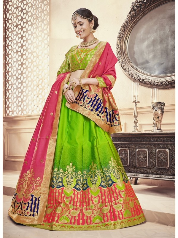 Pink Silk Jacquard Duppatta, Parrot Green Color Banarasi Silk Jacquard Lehenga & Green Silk Crop Top Styled Blouse