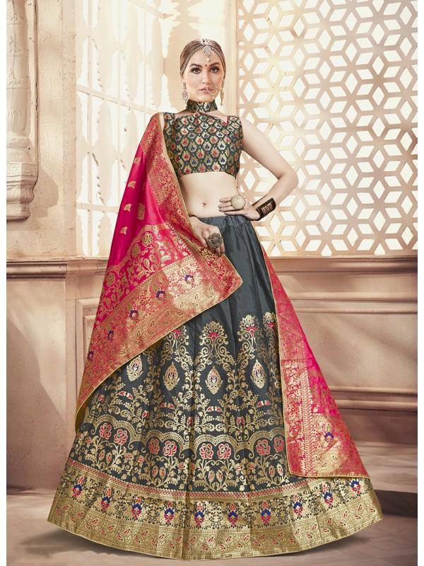 Pink Silk Jacquard Duppatta, Dark Grey Banarasi Silk Jacquard Lehenga & Grey Silk Crop Top Styled Blouse