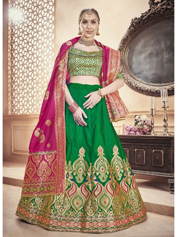 Pink Silk Jacquard Duppatta, Bottle Green Banarasi Silk Jacquard Lehenga & Green Silk Crop Top Styled Blouse