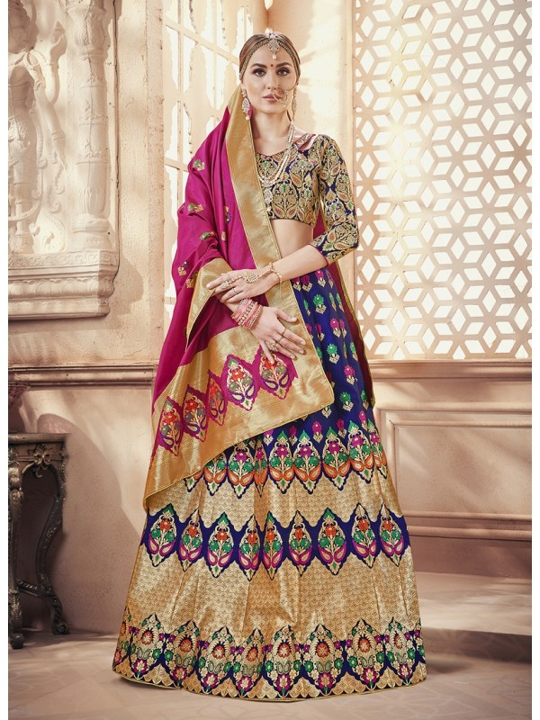 1001372 Blue And Golden Crop Top Lehenga In Banarasi Silk Brocade