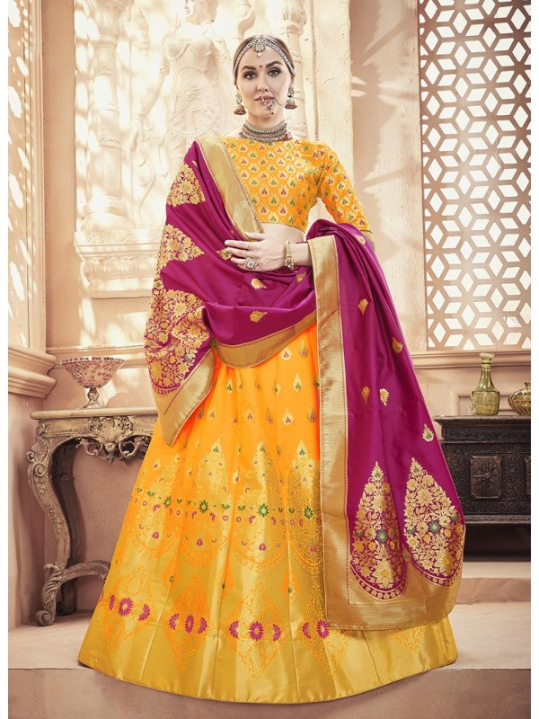 1001373 Yellow golden crop top lehenga in banarasi silk brocade