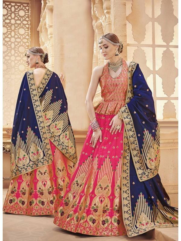 1001374 Elegant Pink And Navy Blue Dupatta With Goldan Resham Bold Motif Silk Brocade Lehenga