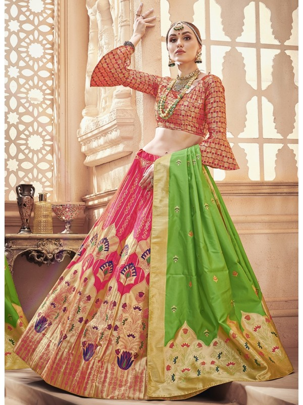 1001375 Baby Pink Lehenga With Light Green Dupatta Done With Goldan Resham Bold Motif Silk