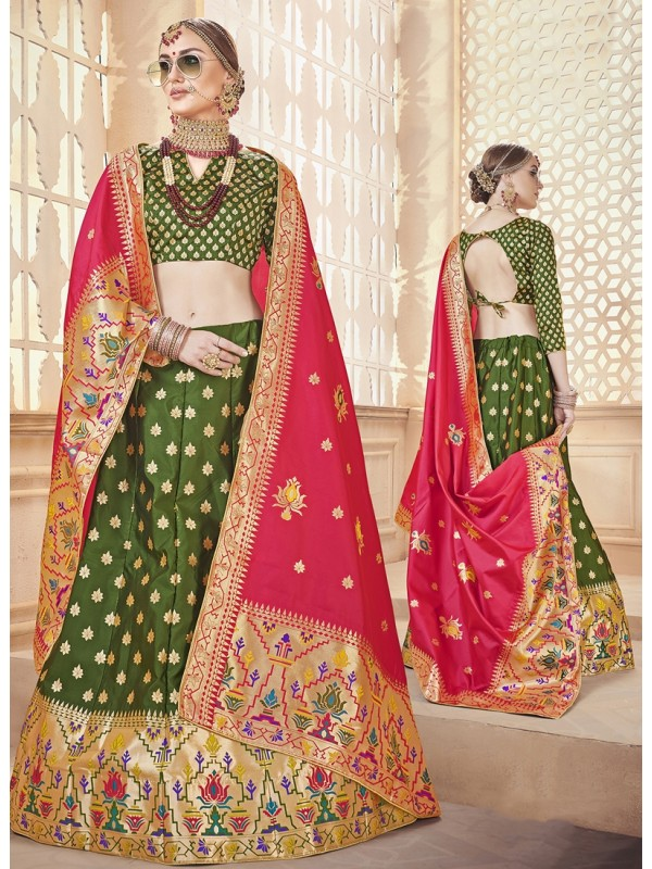 1001376 Mehendi Green Silk Brocade Lehenga With Pink Silk Dupatta And Crop Top Style Blouse