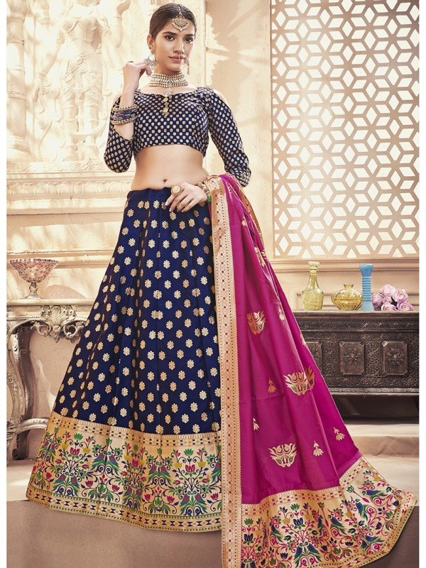 1001377 Navy Blue Silk Brocade Lehenga With Magenta Pink Silk Dupatta And Crop Top Style Blouse
