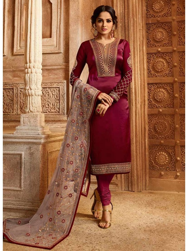 3002543 Crimson Red Bollywood Salwar Suits