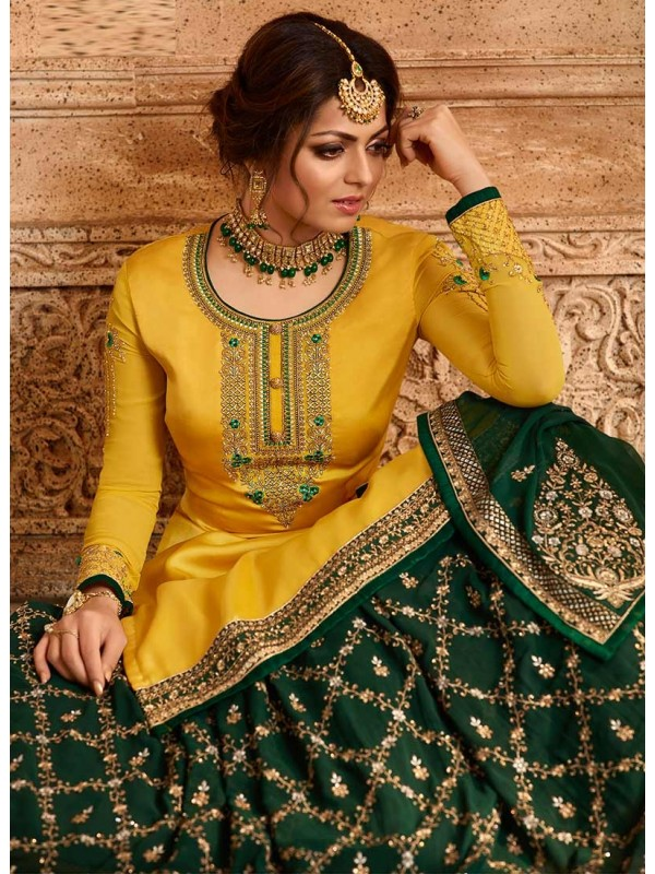 3002544 Fresh Petal Yellow & Green Bollywood Salwar Suits