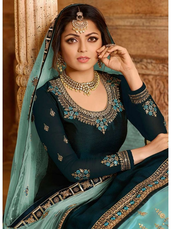 3002545, Turquoise & Sky Blue Bollywood Salwar Suits