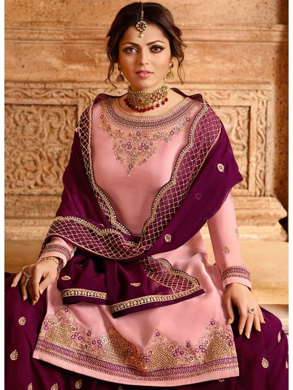3002546 Baby Pink & Purple Bollywood Salwar Suits
