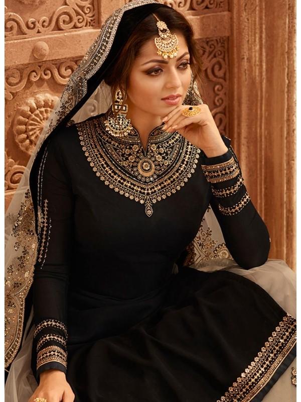 3002547 Jet Black Bollywood Salwar Kameez