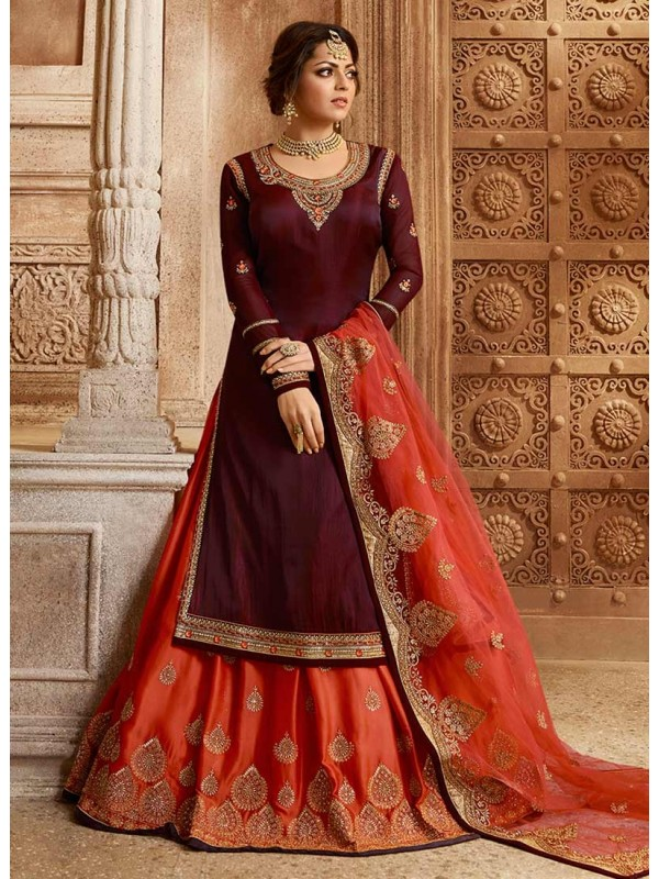 3002548 Reddish Maroon & Pink Bollywood Salwar Suits