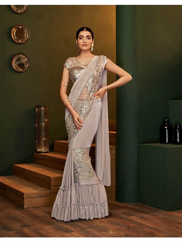 Designer pre-creased light beige saree