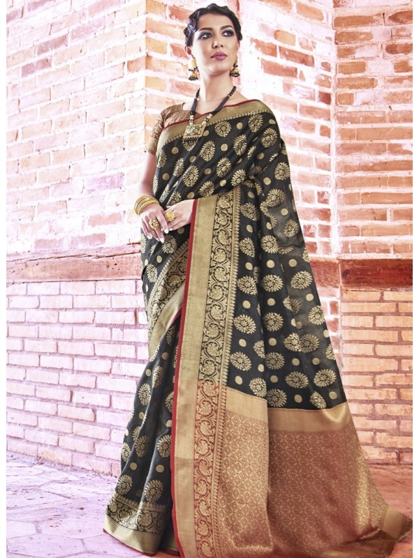 Enrich Black Weaving Silk Saree With Goldan Color Blouse
