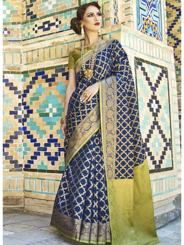 Enrich Blue Weaving Silk Saree With Goldan Color Blouse