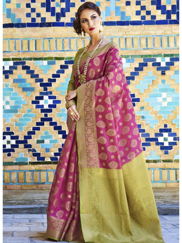 Enrich Magenta Pink Weaving Silk Saree With Goldan Color Blouse