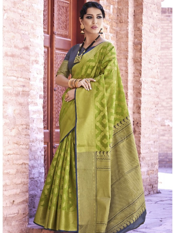 Enrich Mehandi Green Weaving Silk Saree With Green With Black Color Border Blouse