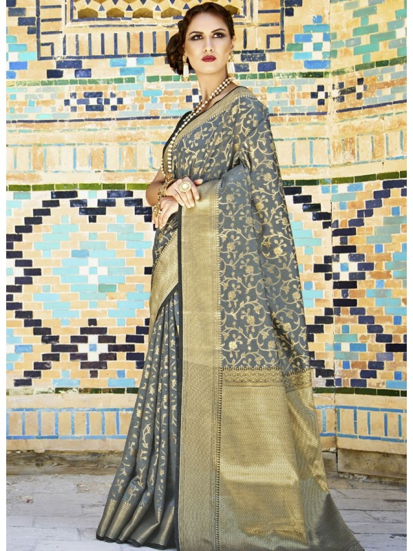 Grey Color Silk Saree With With Golden Border Blouse