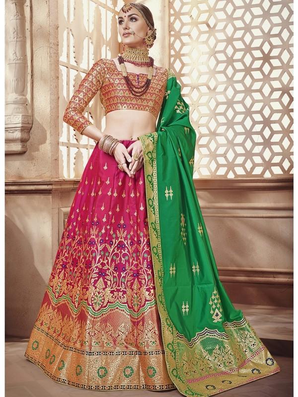 Green Duppatta, Magenta Banarasi Silk Jequard Lehenga & Pink Silk Crop Top Styled Blouse