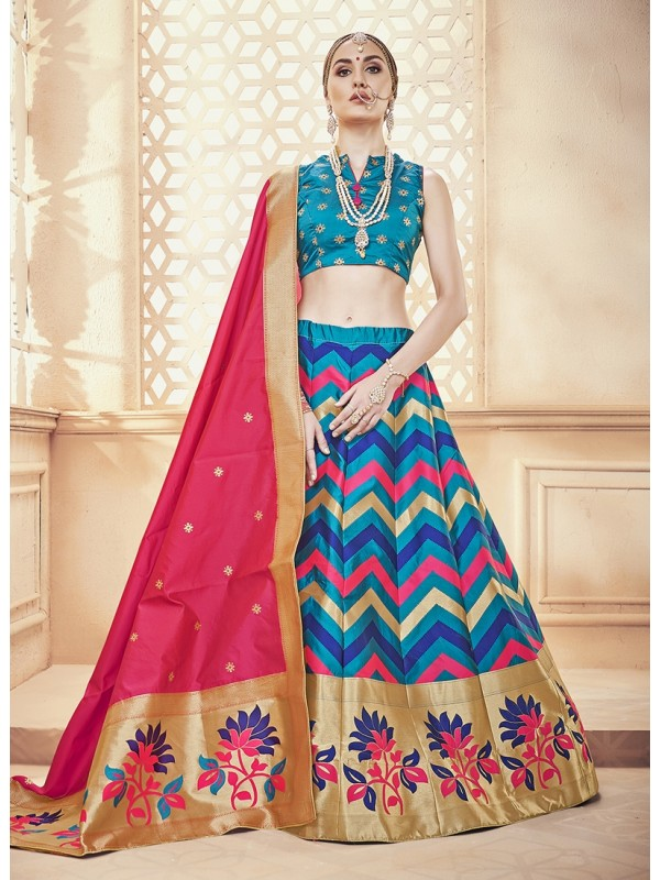 Pink Duppatta, Multi Colour Banarasi Silk Jacquard Lehenga & Sky Blue Silk Crop Top Styled Blouse