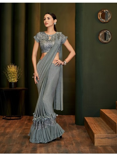 Announce your affection for innovative and brilliant ethnic wear grey saree