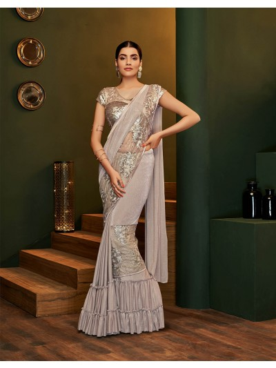 Designer pre-creased light beige saree