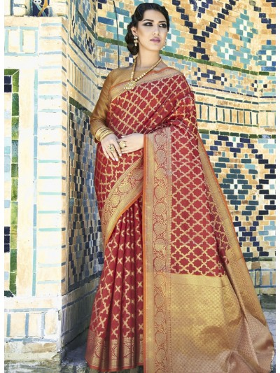 Enrich Red Weaving Silk Saree With Goldan Color Blouse