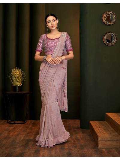 Light pastel pink color designer saree