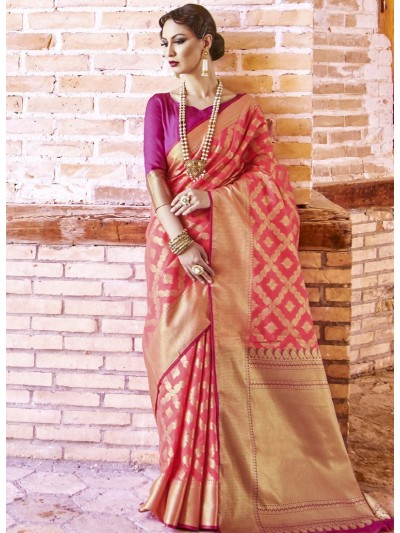 Light Rose Pink Petal Color Silk Saree With Rani Pink Color With Golden Border Blouse